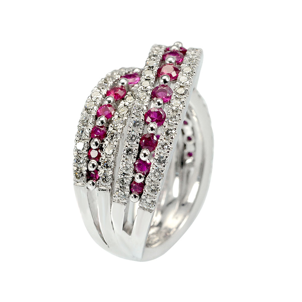 White gold ring with diamonds and rubies