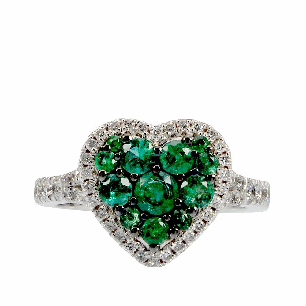 a piedi scatti di stile classico scarpe classiche Anello cuore in oro bianco con diamanti e smeraldi - CARINI GIOIELLI
