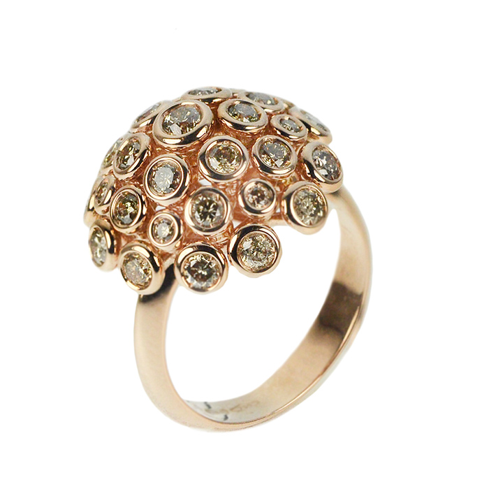 Rose gold ring with brown diamonds