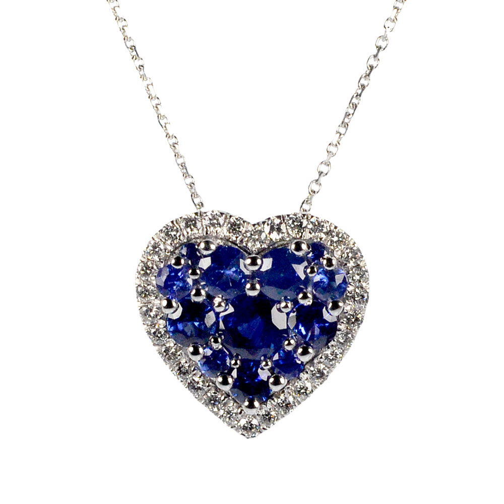 Heart pendant with diamonds and sapphires