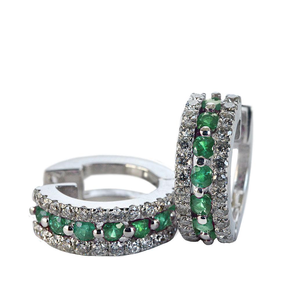 Diamonds and Emerald Earrings