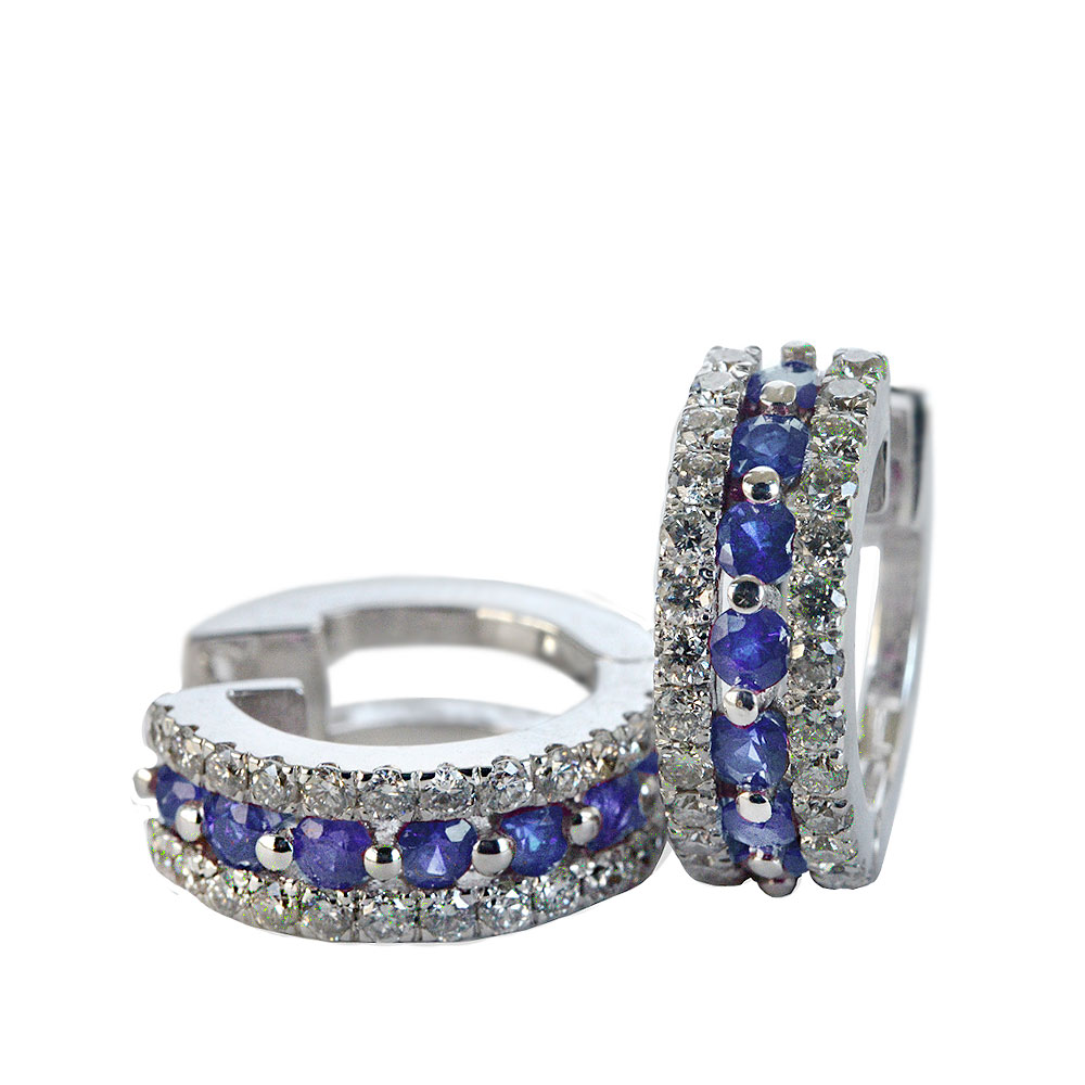 Diamond Earrings with Sapphires