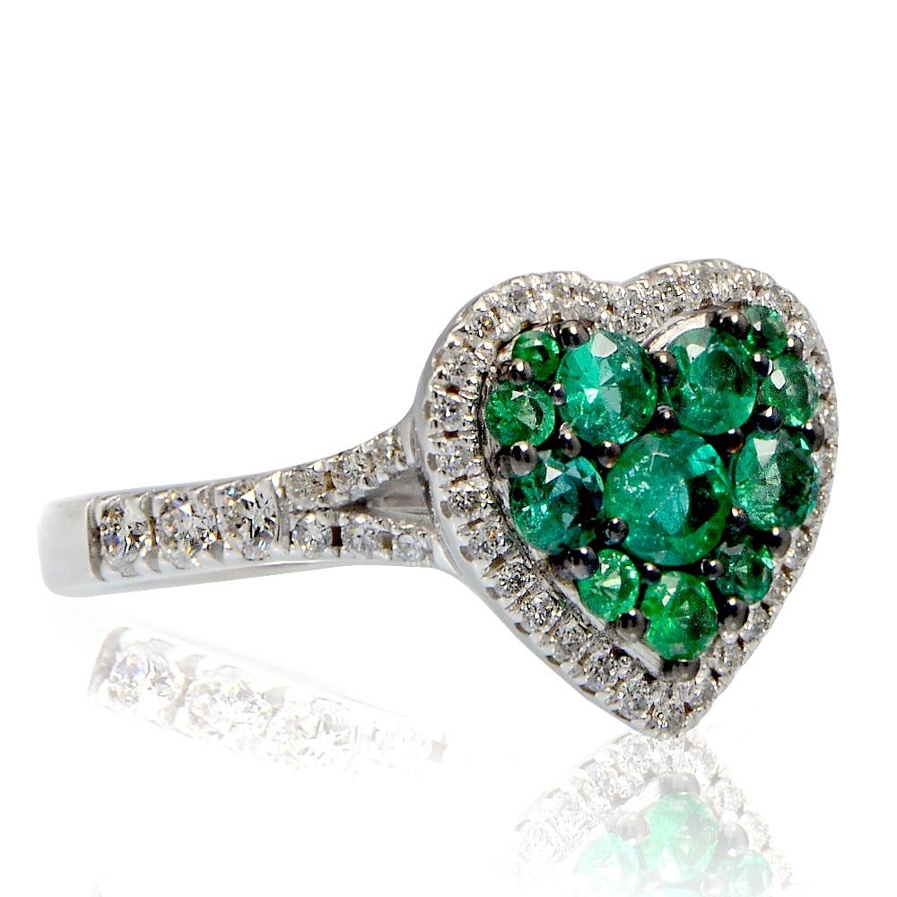 codici promozionali scarpe eleganti qualità anello a cuore in oro bianco con smeraldo e diamanti-carini ...