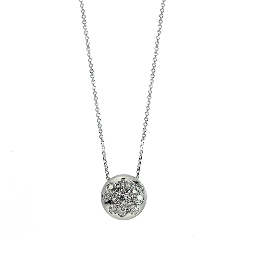Pendant in withe gold with diamonds