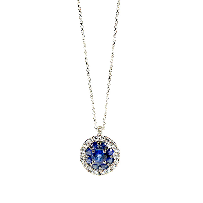 Round Pendant in withe gold with diamonds and Sapphires