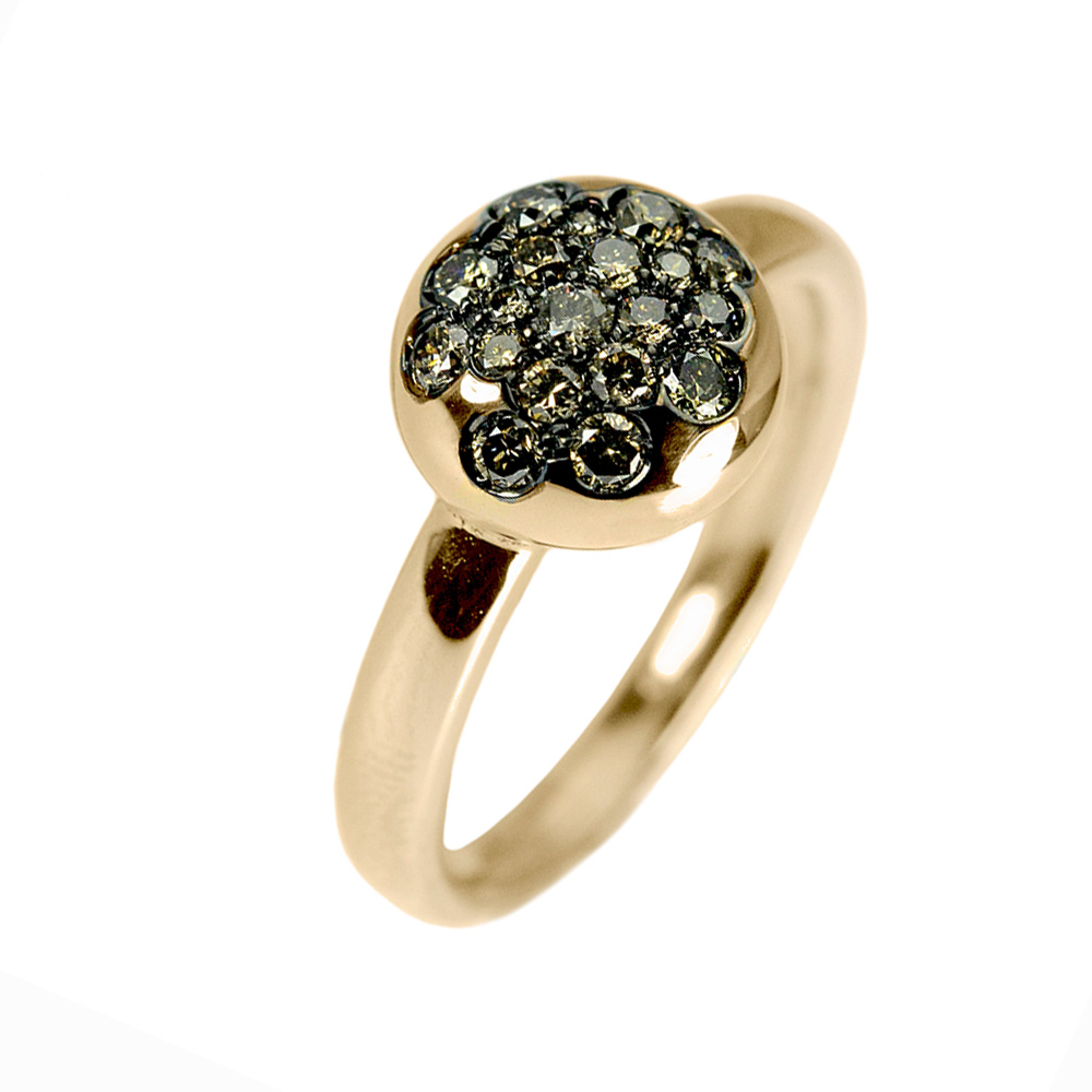 Gold ring 18K gold with diamonds